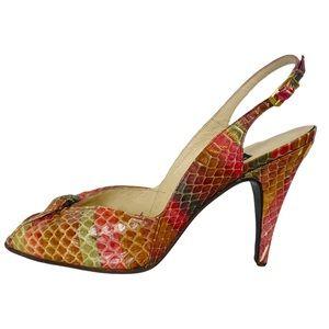 VINTAGE Multicolor Snakeskin Heel Slingback Sandals Stuart Weitzman.